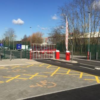 security steel gate around car park with steel fencing