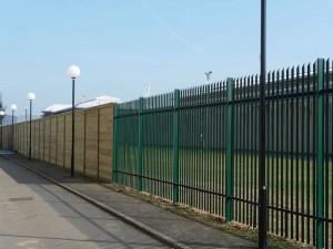 steel security fencing green around school