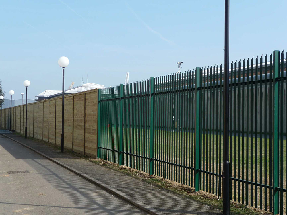 steel security fencing green around school