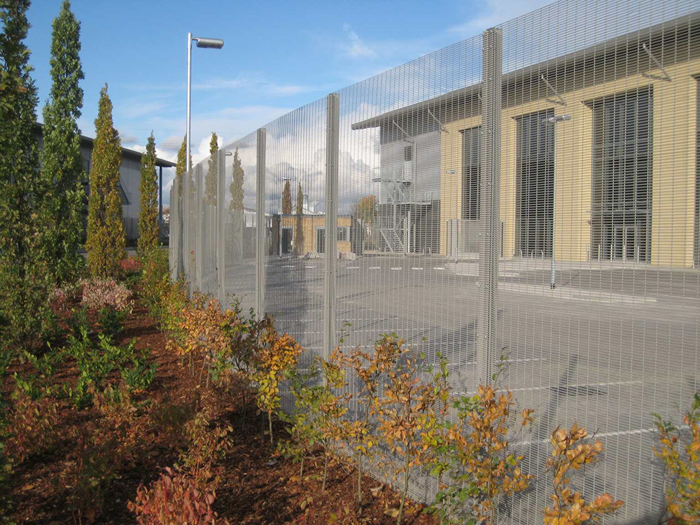 Commercial fencing mesh metal fencing surrounding data centre in slough