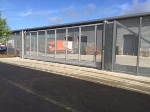 Automated Metal Mesh Cantilever Security Gate