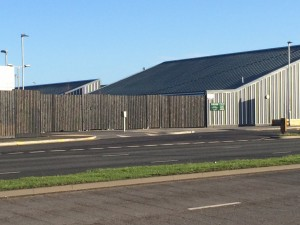 Timber acoustic fence for commercial property