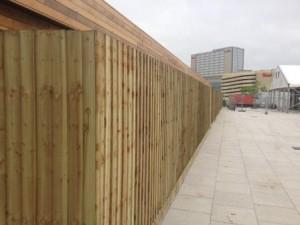 Closeboard timber fencing close up