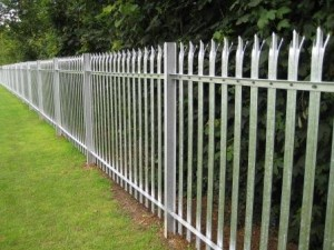 steel palisade fencing around perimeter of school